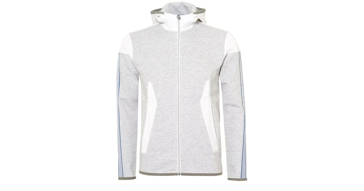 21f19d64b BOSS Selnio Hoodie, Panelled White Hooded Sweatshirt in White for Men - Lyst
