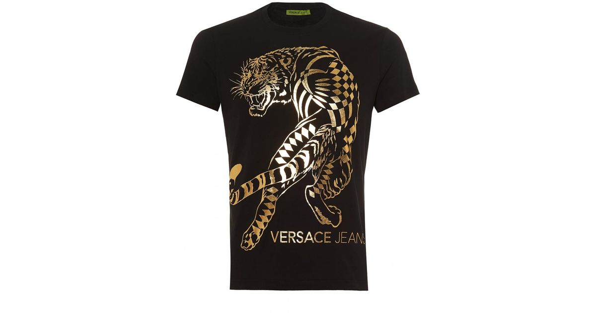 e097aa45c Versace Jeans Large Foil Tiger Graphic T-shirt, Slim Fit Black Tee in Black  for Men - Lyst
