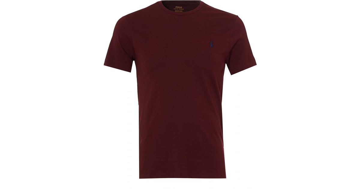 Lyst - Ralph Lauren Plain Jersey T-shirt, Wine Red Crew Neck Tee in Red for  Men - Save 30%