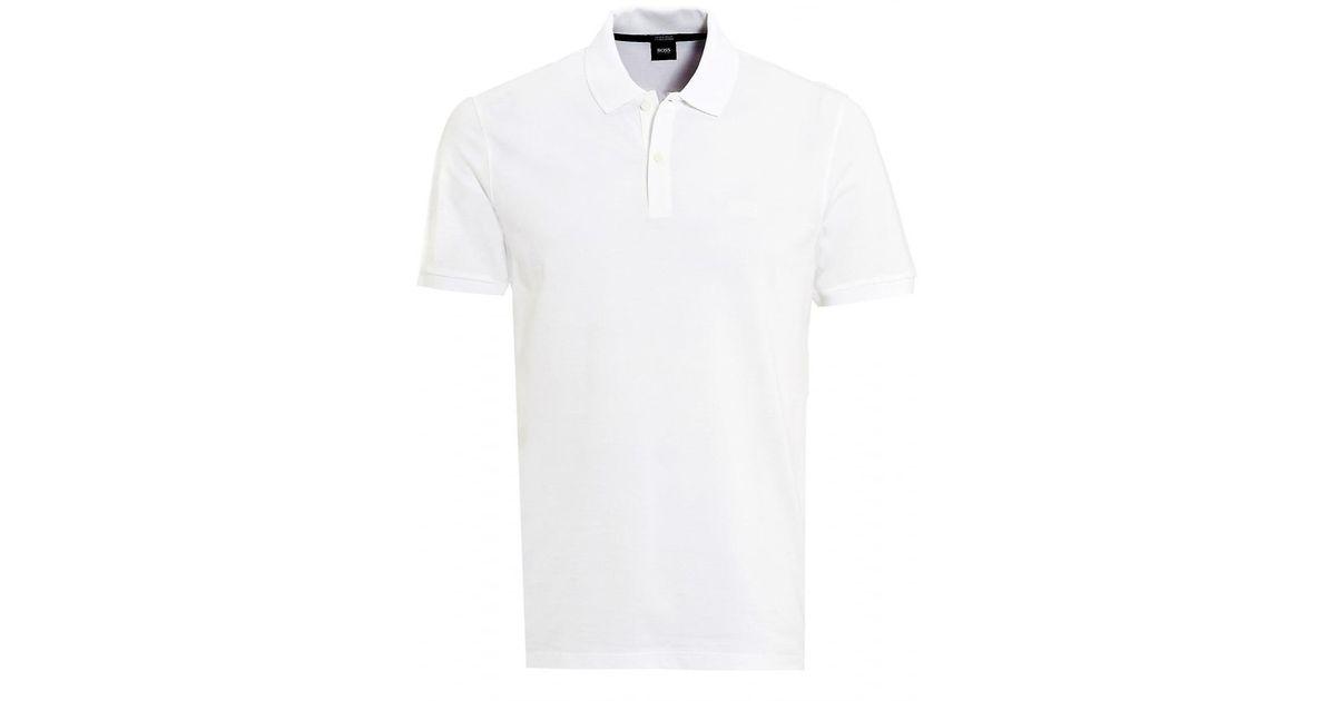 fa80ac312f7a BOSS Pallas Polo, White Regular Fit Plain Polo Shirt in White for Men - Lyst