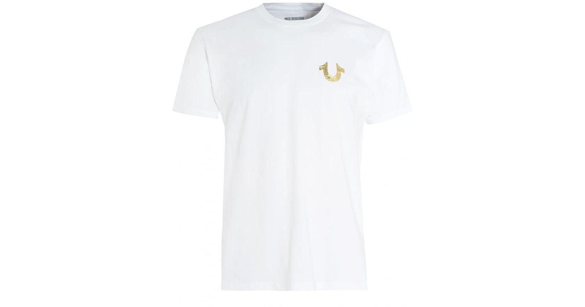 b99ff499 True Religion White T-shirt, Gold Foil Buddha Horseshoe Logo Graphic Tee in  White for Men - Lyst