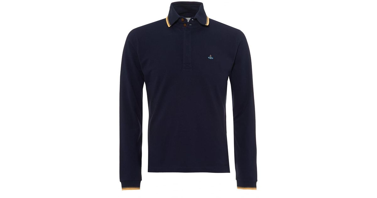 40f27f6c new zealand lyst vivienne westwood long sleeved polo shirt gold tipped navy  blue polo in blue