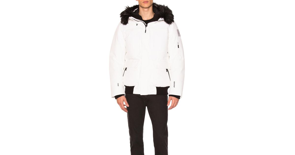 6f34fc6237cc Lyst - The North Face Cryos Expedition Gtx Bomber With Faux Fur Trim in  White for Men