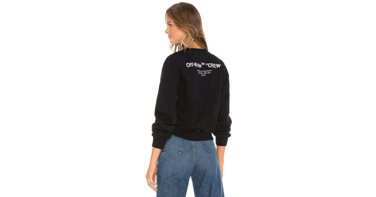 59cdfae21280 Lyst - Off-White c o Virgil Abloh Quotes Crop Crewneck Sweatshirt in Black