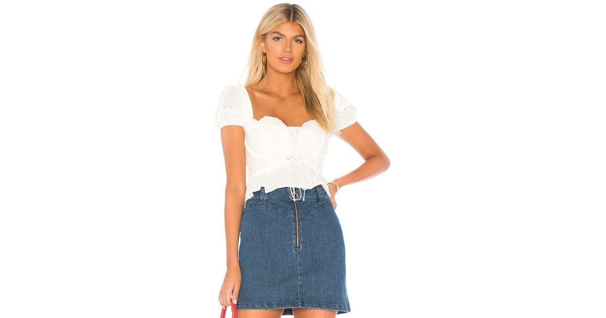 4c05e95829 For Love   Lemons Charlotte Eyelet Lace Up Blouse in White - Lyst