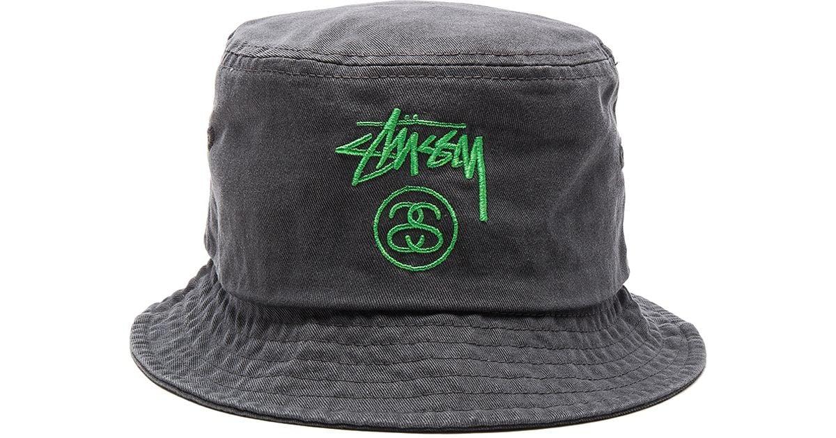 ff6a8a1209f Lyst - Stussy Stock Lock Pigment Dye Bucket Hat in Black for Men