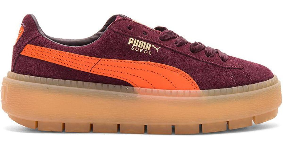 PUMA Suede Platform Trace Block Sneaker in Red - Lyst f9f26d131