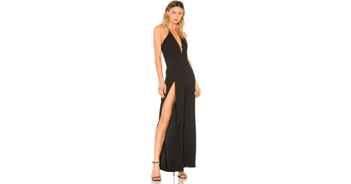 0d4ea88bef1 Lyst - Michelle Mason Palazzo Slit Jumpsuit in Black