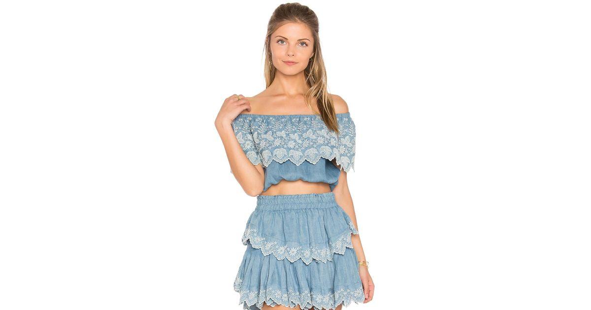 2d21127043cbb1 Lyst - LoveShackFancy Tori Crop Top in Blue
