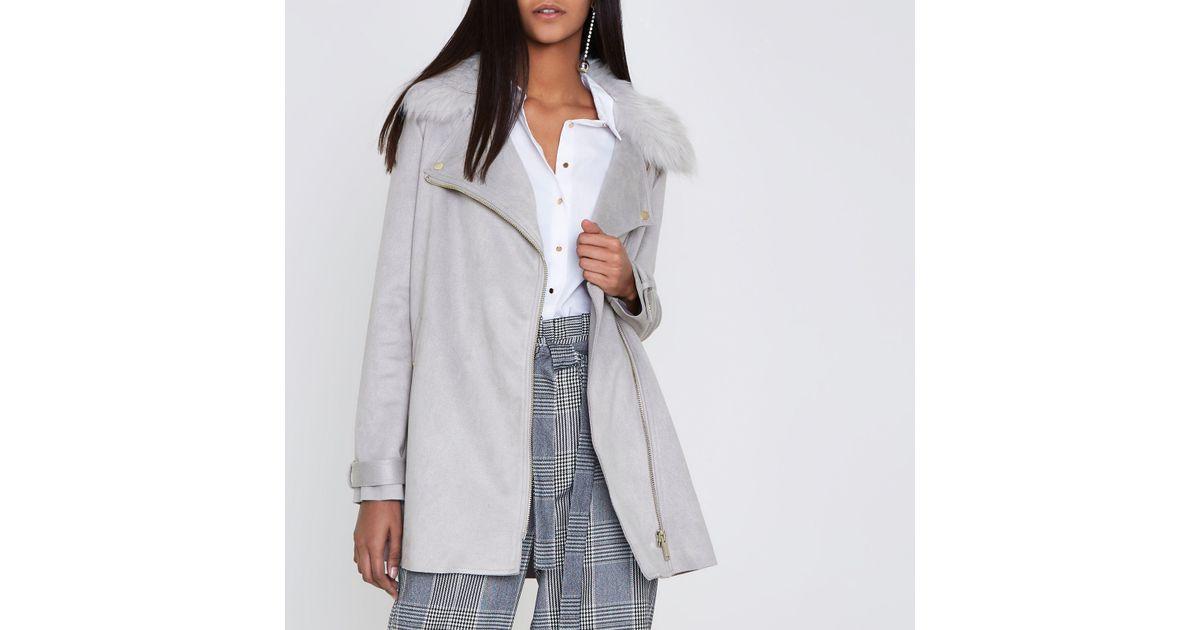 4370aa718fee Lyst - River Island Grey Faux Fur Collar Swing Coat in Gray