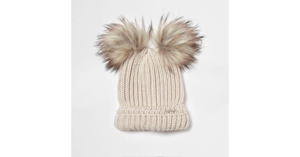 8198422eb River Island - Natural Cream Double Pom Pom Beanie Hat Cream Double Pom Pom  Beanie Hat - Lyst