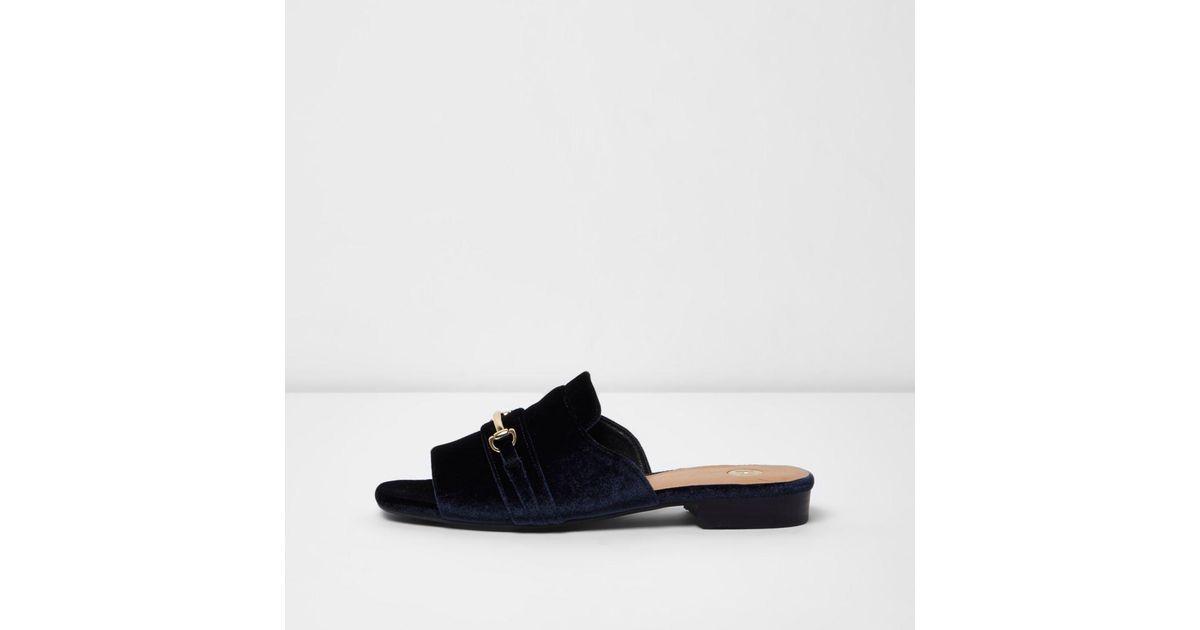 Womens Blue gold tone trim tassel loafers River Island 3JdIX