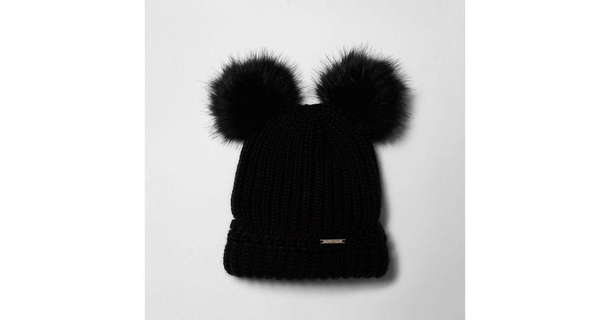 01545673710 Lyst - River Island Black Faux Fur Pom Pom Ears Beanie Hat Black Faux Fur  Pom Pom Ears Beanie Hat in Black