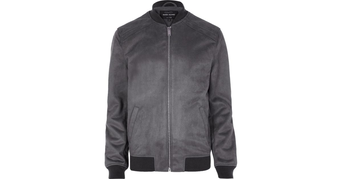 River Island Grey Faux Suede Bomber Jacket