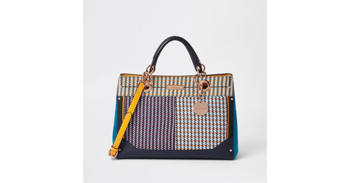 River Island Check Tote Bag in Purple - Lyst acbb42be77eea