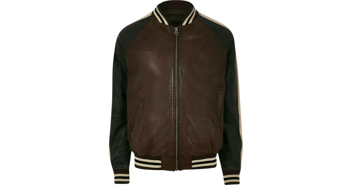 f39825bcda River Island Pepe Jeans Leather Tipped Bomber Jacket in Brown for Men - Lyst