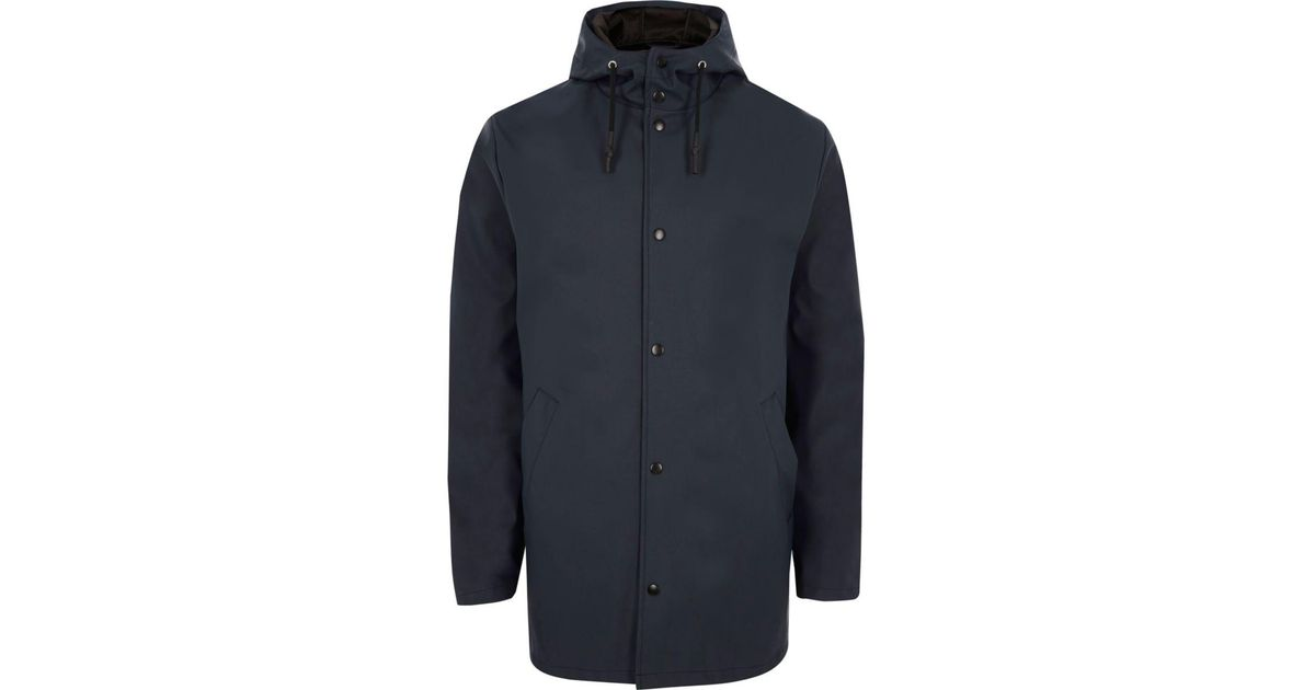 Navy Hooded Jacket From River Island