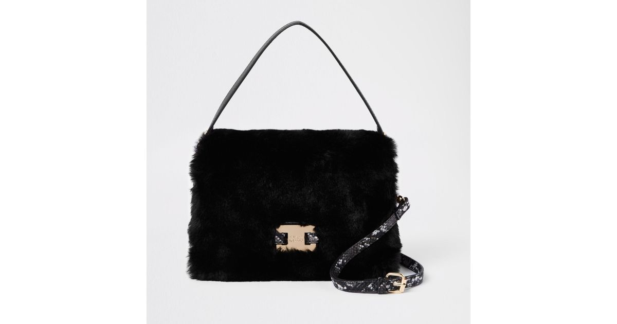 58041cd3dd River Island Black Faux Fur Flap Over Cross Body Bag in Black - Lyst