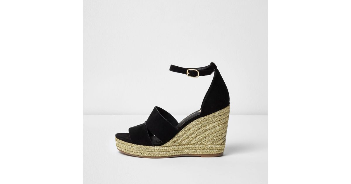 10547506574 Lyst - River Island Black Strappy Gold Espadrille Wedges in Black