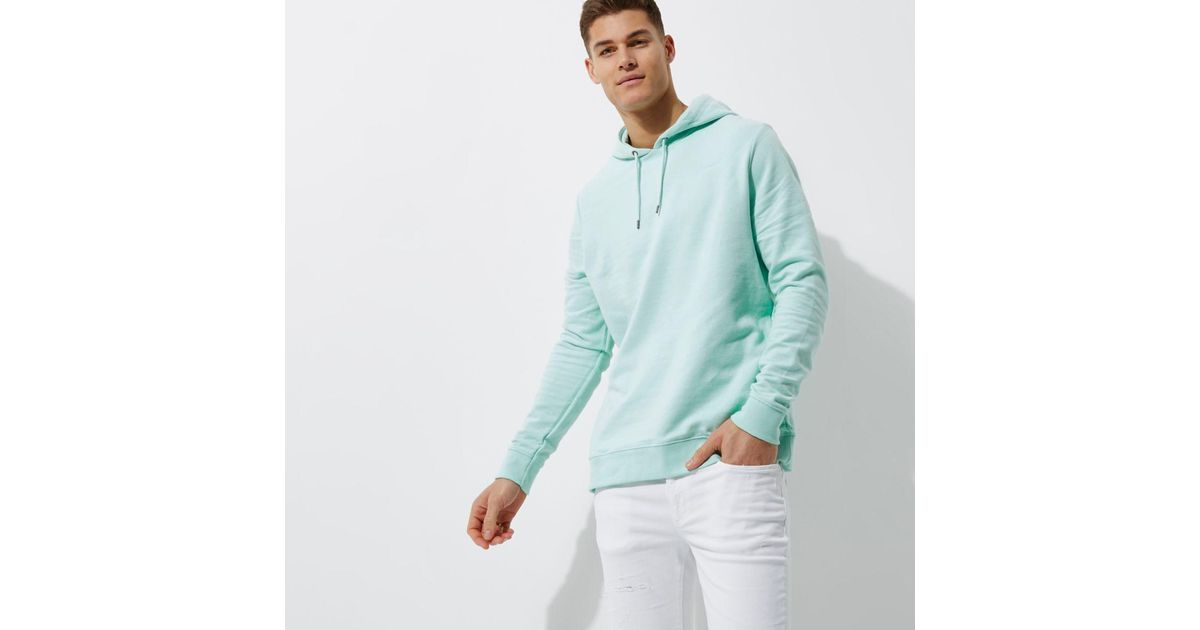 official photos release date: unequal in performance River Island Mint Green Hoodie for men