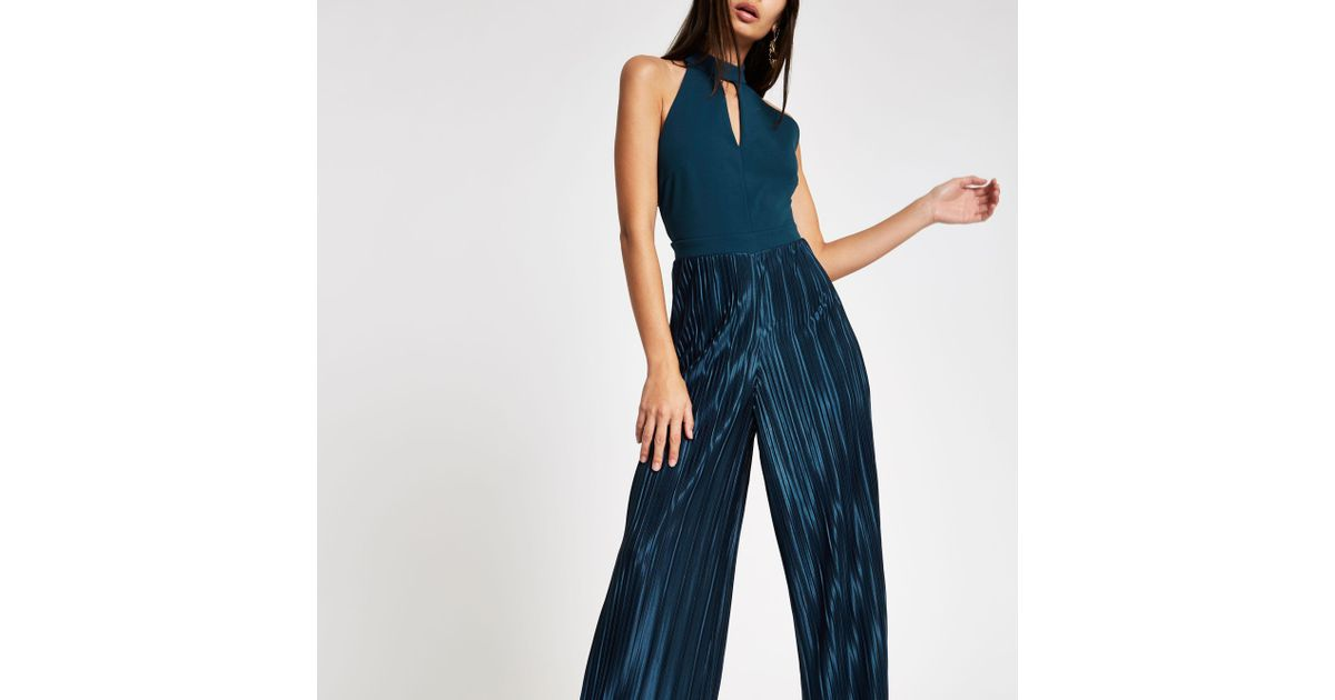 ed6dadbcb89e2 River Island Teal Halter Neck Wide Leg Plisse Jumpsuit in Green - Lyst