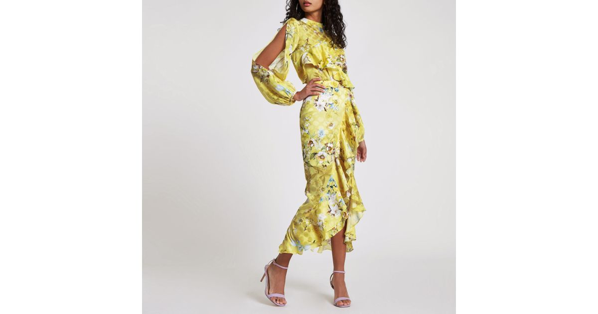 a016266740 River Island Yellow Floral Frill Wrap Midi Skirt in Yellow - Lyst