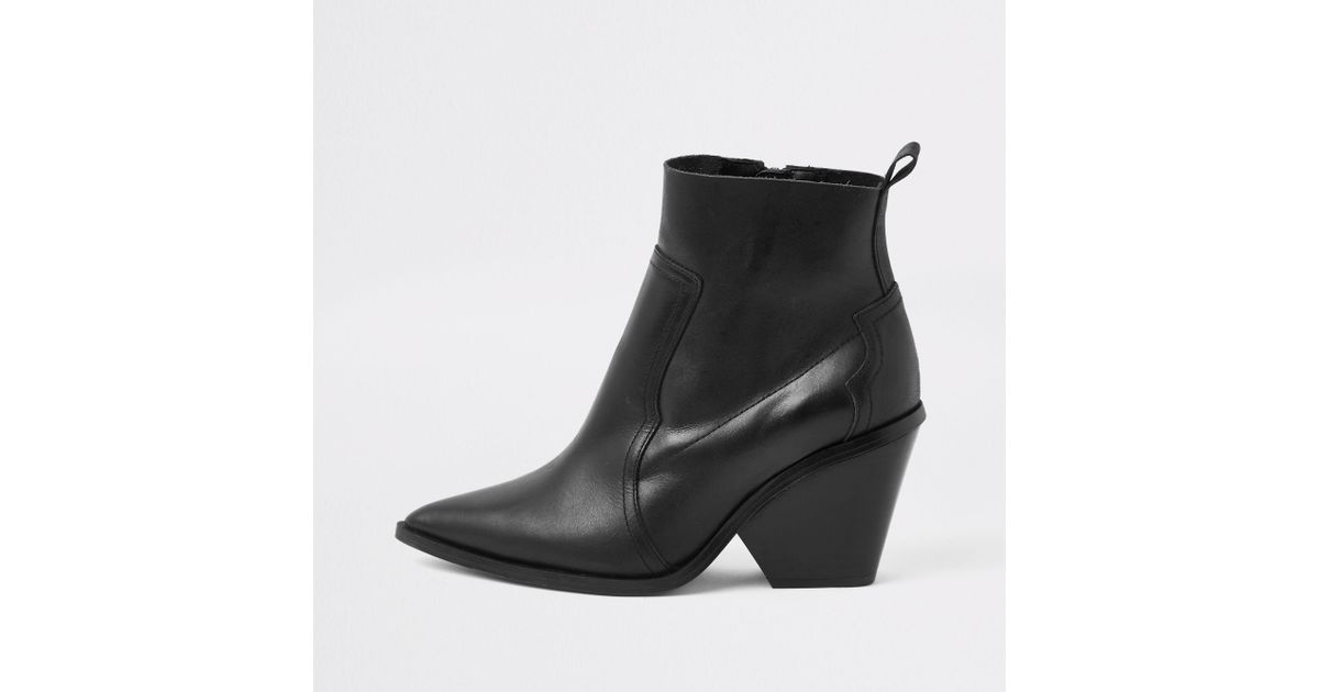 e077d50fa2d6 River Island Black Leather Western Ankle Boots in Black - Lyst