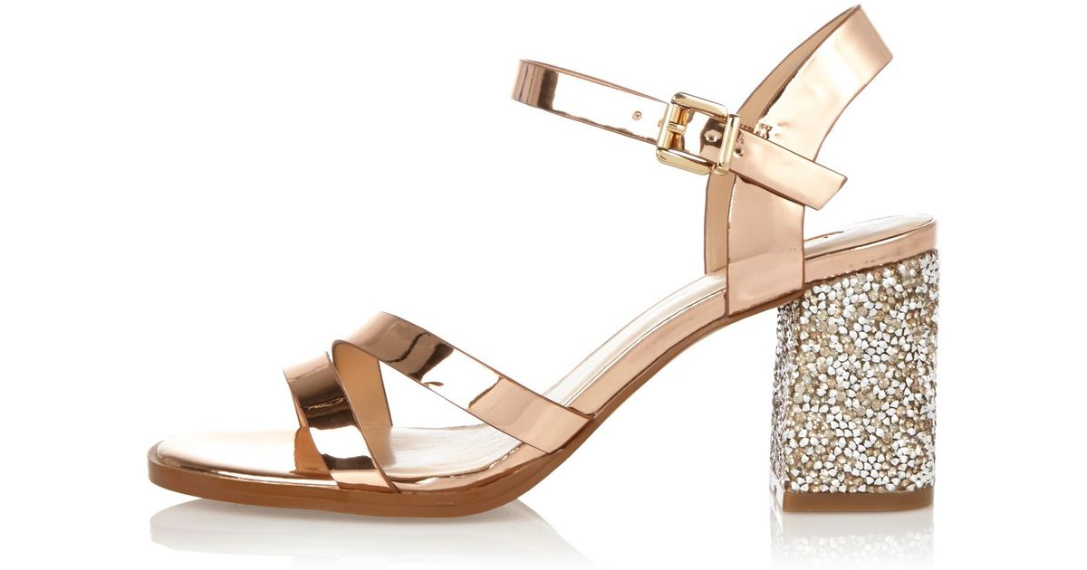 64fbff197ff Lyst - River Island Rose Gold Glitter Block Heel Sandals