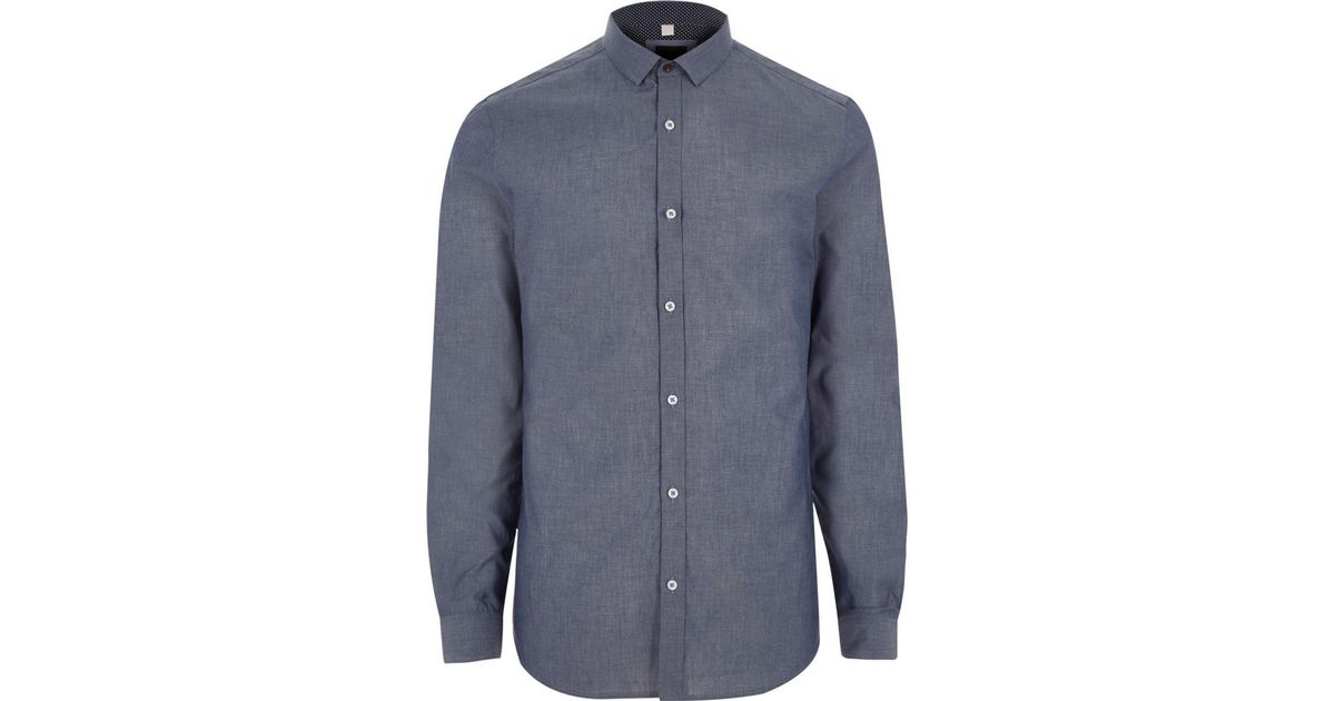 River island big and tall blue chambray long sleeve shirt for Big and tall long sleeve shirts