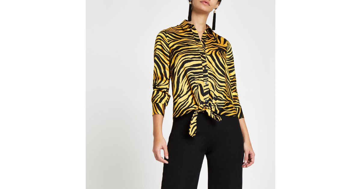 50acc77b Lyst - River Island Zebra Print Tie Front Shirt in Yellow