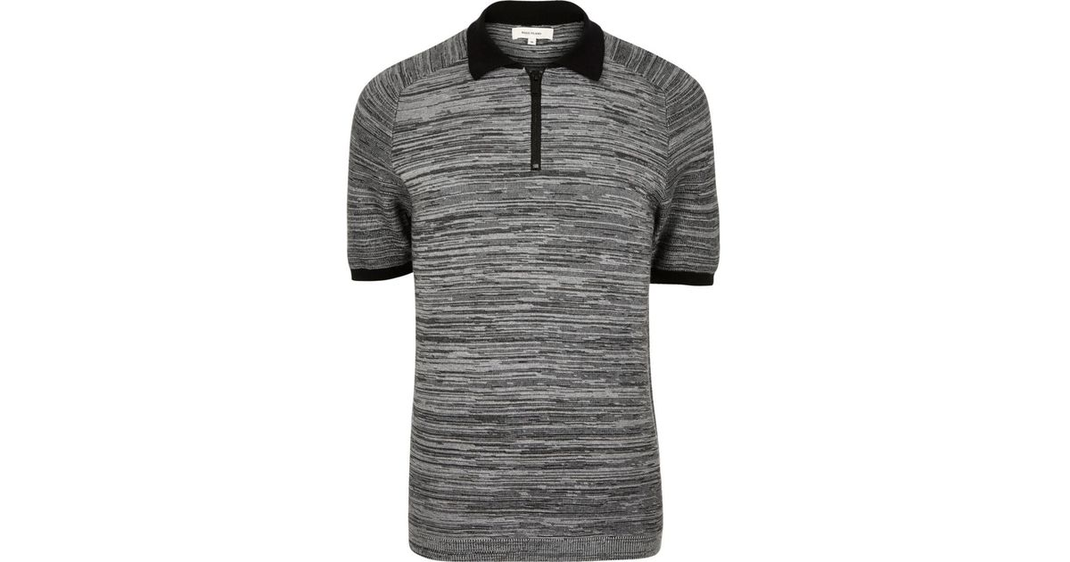 fa4d2aaf Lyst - River Island Grey Textured Zip-up Polo Shirt in Gray for Men