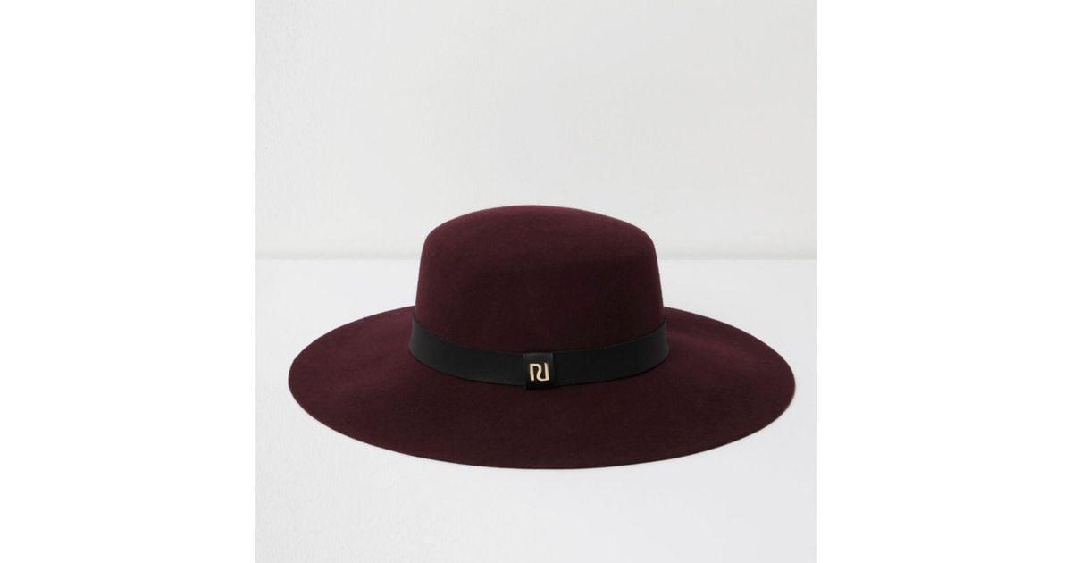 Lyst - River Island Dark Red Wide Brim Fedora Hat in Red 01483c07ae7