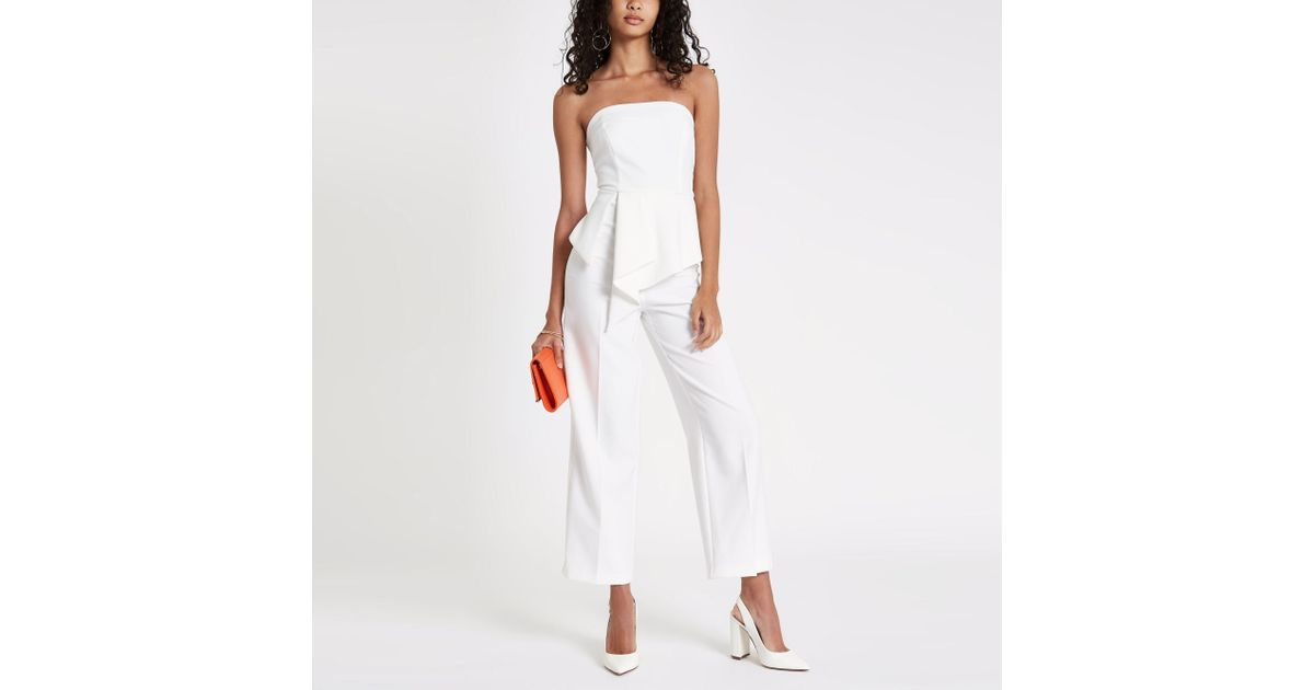 f66ee400584 River Island Frill Front Bardot Jumpsuit in White - Lyst