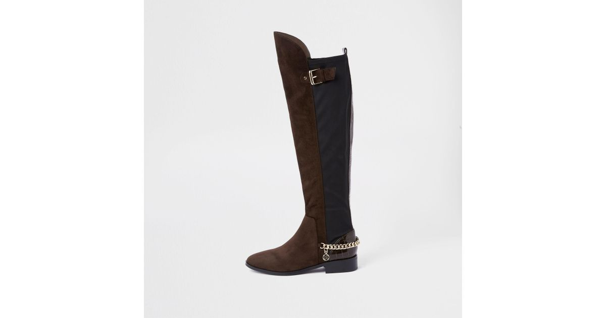 c578be32d6 River Island Brown Over The Knee Chain Boots in Brown - Lyst