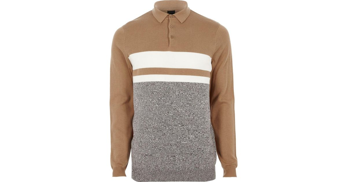 Lyst River Island Big And Tall Brown Block Knit Polo