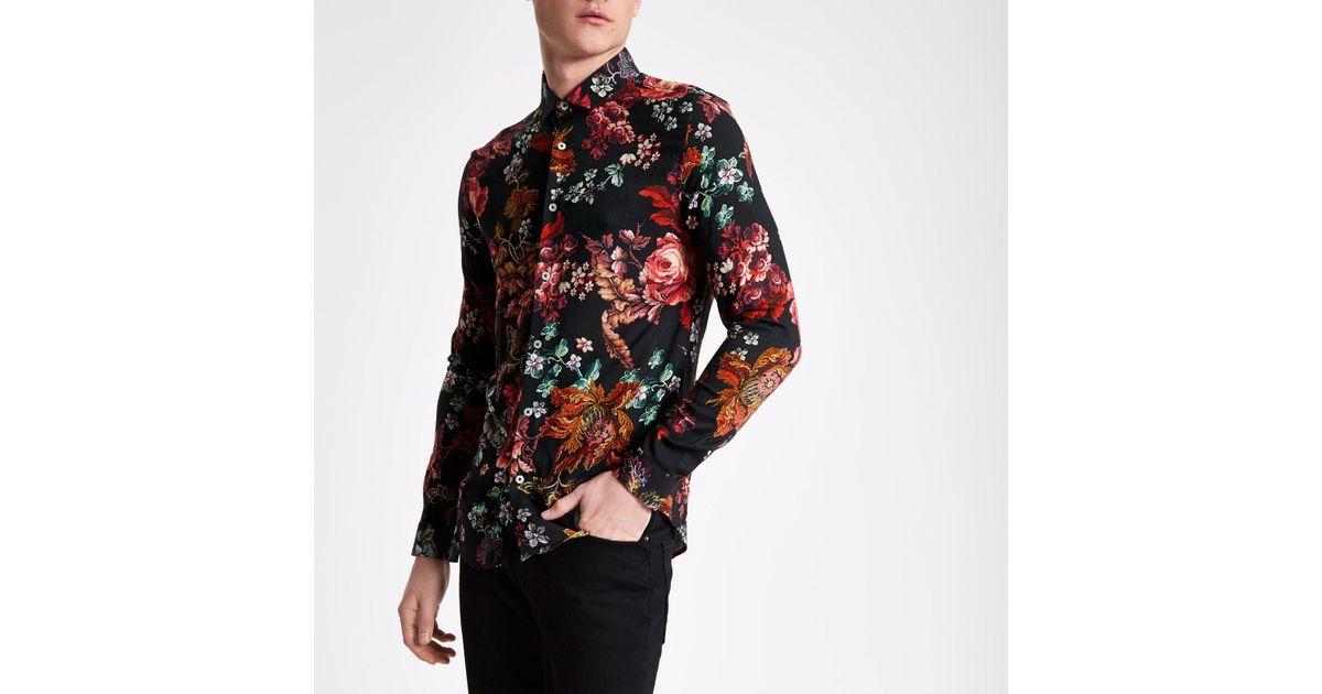 c94f331b63d Lyst - River Island Black Floral Print Long Sleeve Slim Fit Shirt in Black  for Men