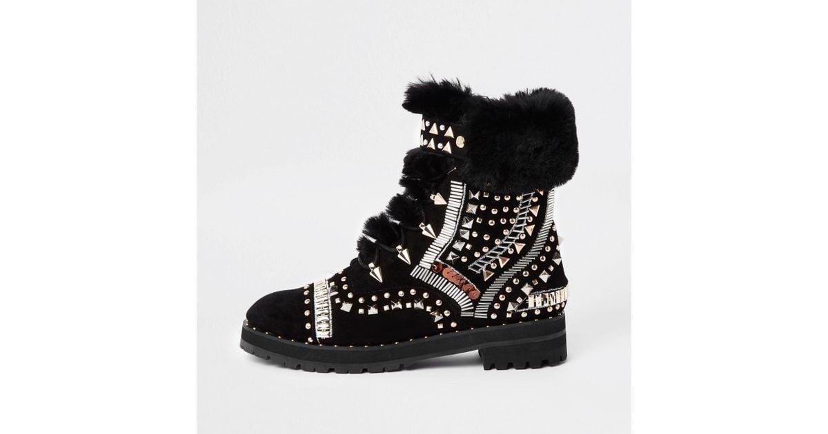 5d700055bf3d8 River Island Ri 30 Black Faux Fur Trim Embellished Boots in Black - Lyst