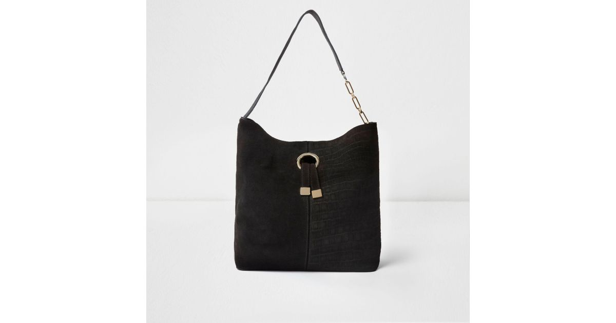 229fe4ff13 River Island Black Suede Ring Front Underarm Slouch Bag in Black - Lyst