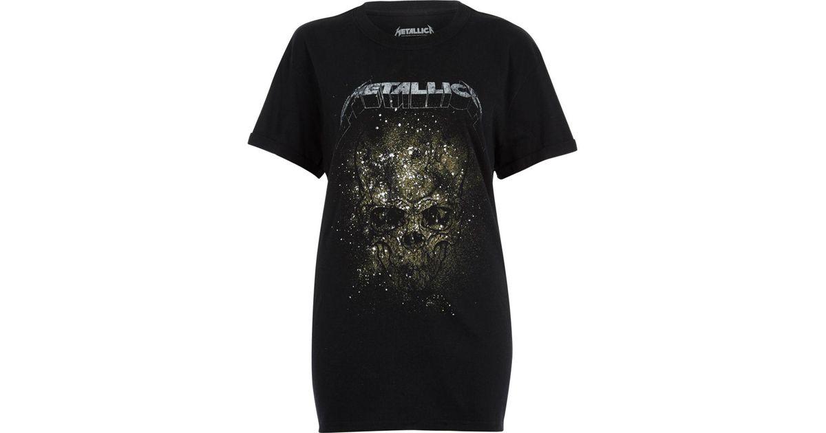 460b1195 River Island Black Metallica Print Band T-shirt in Black - Lyst