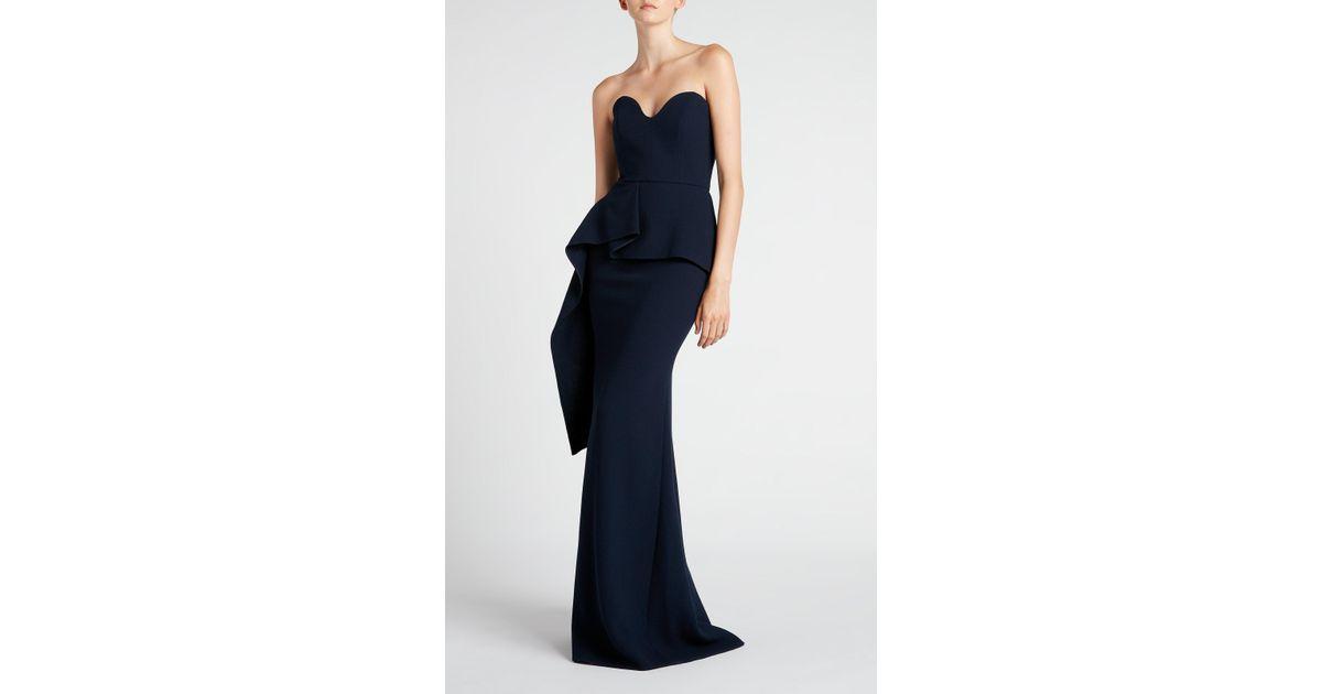 83f672dc296d Roland Mouret Bond Wool Crêpe Gown in Blue - Lyst