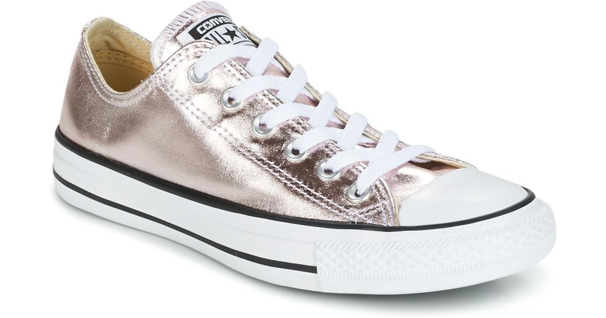 4ed7464bd9a6 Converse Chuck Taylor All Star Metallic Canvas Ox Rose Quartz white black  Shoes (trainers) in Metallic - Lyst
