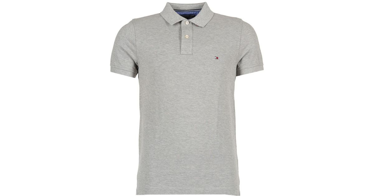 3de82adfae1426 Tommy Hilfiger Slim Fit Polo Polo Shirt in Gray for Men - Lyst