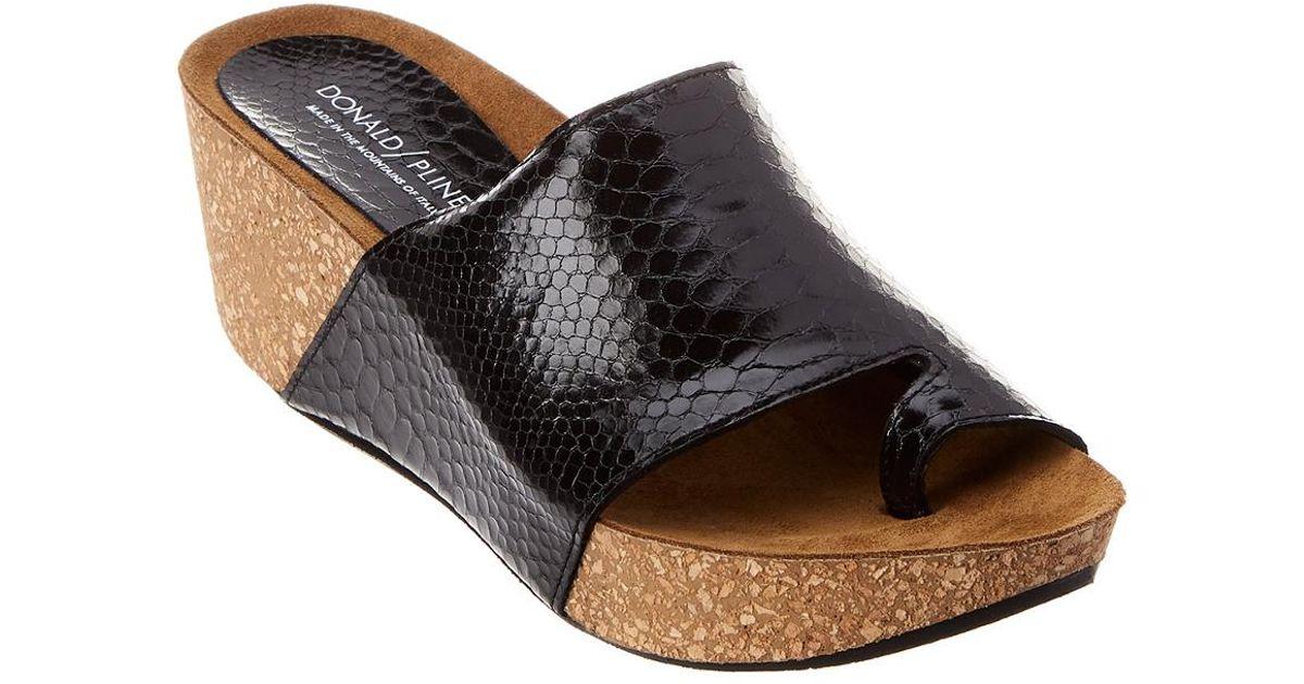 c5dd8e132502 Lyst - Donald J Pliner Ginie Patent Wedge Sandal in Black