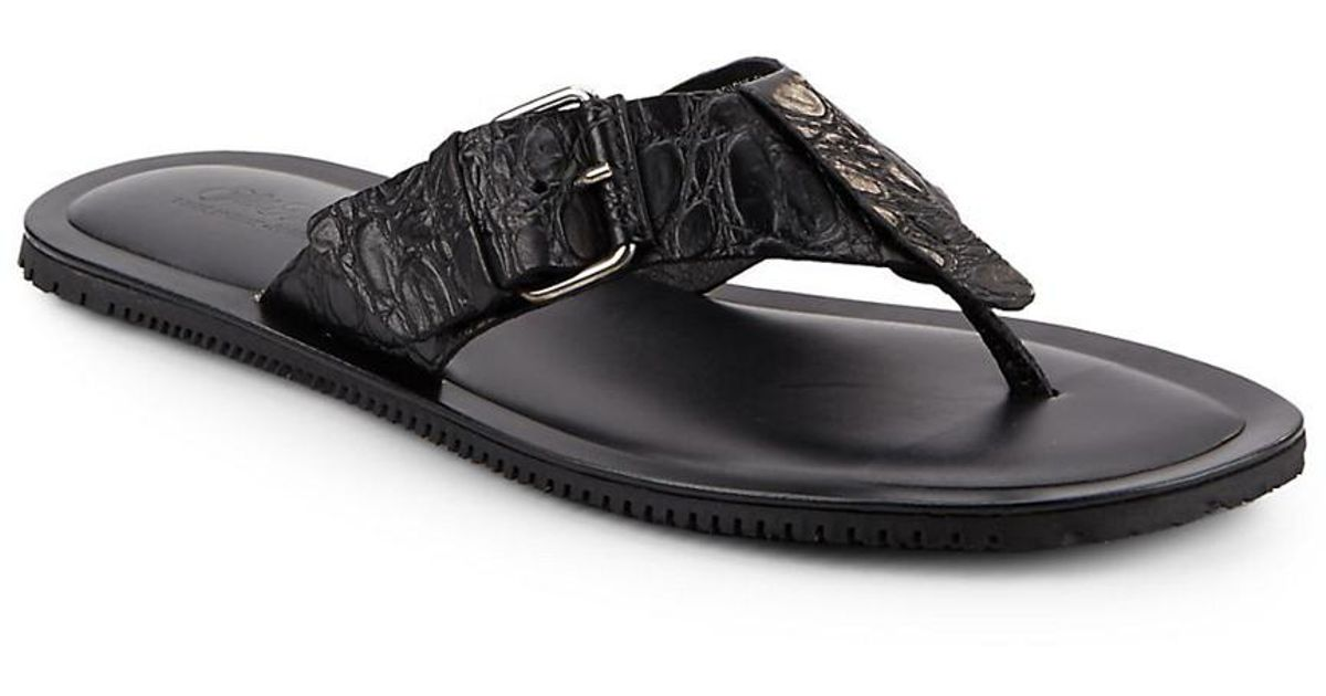 7b3bc08bc Lyst - Saks Fifth Avenue Made In Italy Croc-embossed Thong Sandal in Black  for Men
