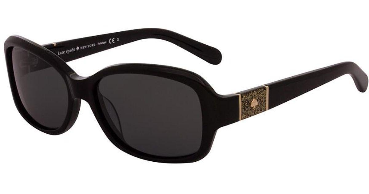 62150415c39b9 Kate Spade Women s Cheyenne p s 55mm Polarized Sunglasses in Black - Lyst