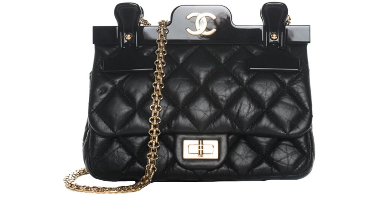 a0584c93b1f0 Lyst - Chanel 2016 Black Quilted Calfskin Leather Hanger Flap Bag ...