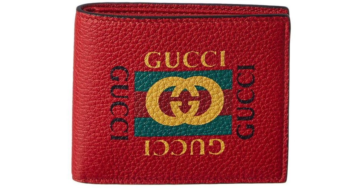 0eaf0fbbf58e Lyst - Gucci Logo Print Leather Bifold Wallet in Black for Men