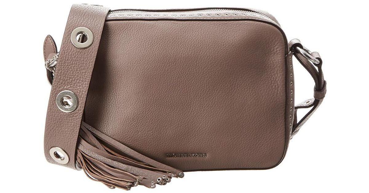 462fbd83fa3959 Michael Michael Kors Michael Kors Brooklyn Large Leather Camera Bag in  Brown - Lyst