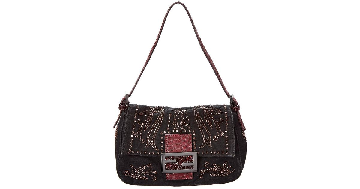 d3b15a26a2 Lyst - Fendi Limited Edition Black Embellishment Mini Mamma Bag in Black