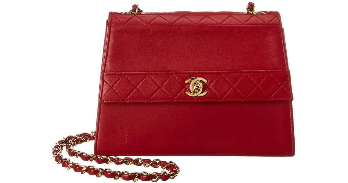e9b0f5e34b86 Chanel Red Lambskin Leather Trapezoid Bag in Red - Save 1% - Lyst